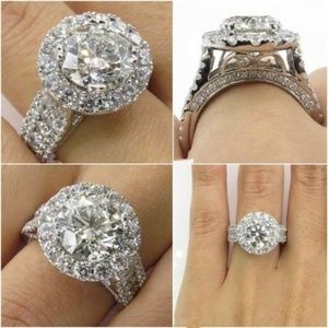 925 Silver Filled Round Cut White Sapphire Ring